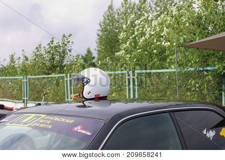 PERM RUSSIA - JUL 22 2017: Competitor car with helmet on roof at Open Ural Championship Drift 2017
