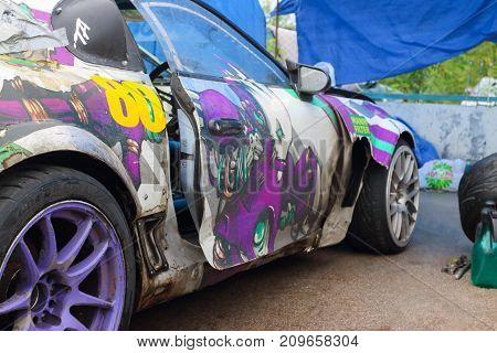 PERM RUSSIA - JUL 22 2017: Part of sport car with graffiti at Open Ural Championship Drift 2017