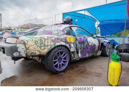 PERM RUSSIA - JUL 22 2017: Sport car with graffiti at Open Ural Championship Drift 2017