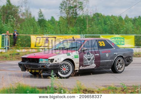 PERM RUSSIA - JUL 22 2017: Drifting fast car on race track at Open Ural Championship Drift 2017