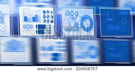 3d Digital composite image of business graphs arranged