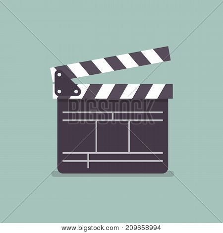 Movie clapper in flat style. Vector illustration