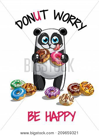 Vector illustration of cute cartoon happy fun panda with donuts. Greeting card, postcard. Dont worry, be happy.