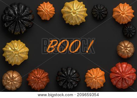 3d rendering of black, orange and gold shiny Halloween pumpkins with the word Boo in the center