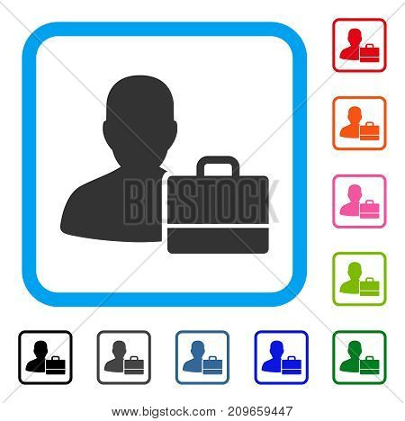 Accounter icon. Flat grey pictogram symbol inside a light blue rounded squared frame. Black, gray, green, blue, red, orange color versions of Accounter vector.