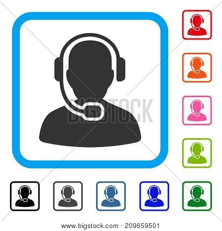 Call Center Operator icon. Flat gray pictogram symbol in a light blue rounded square. Black, gray, green, blue, red, orange color variants of Call Center Operator vector.