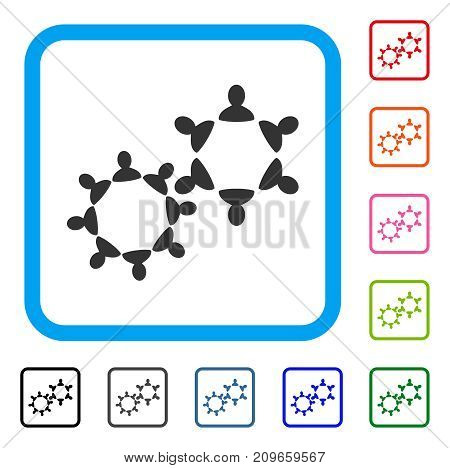 Collaboration icon. Flat grey iconic symbol in a light blue rounded rectangular frame. Black, gray, green, blue, red, orange color variants of Collaboration vector.