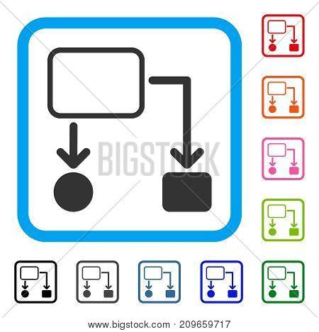 Flowchart Scheme icon. Flat grey iconic symbol inside a light blue rounded rectangle. Black, gray, green, blue, red, orange color variants of Flowchart Scheme vector.