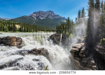Rocky Mountains - The deep raging falls of Athabasca in Jasper National Park