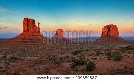 Beautiful sunset at Monument Valley, Arizona - Utah
