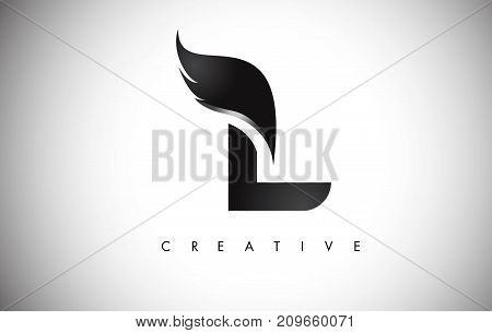 L Letter Wings Logo Design With Black Bird Fly Wing Icon.