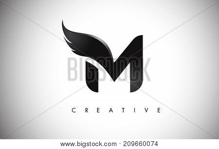 M Letter Wings Logo Design With Black Bird Fly Wing Icon.