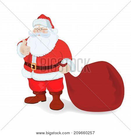 Santa Claus with a big bag. Vector illustration