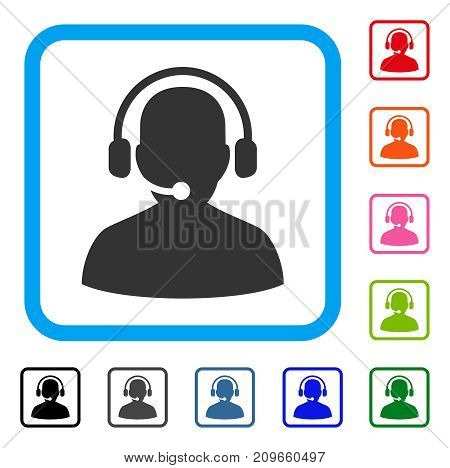 Telemarketing icon. Flat grey pictogram symbol in a light blue rounded frame. Black, gray, green, blue, red, orange color additional versions of Telemarketing vector.