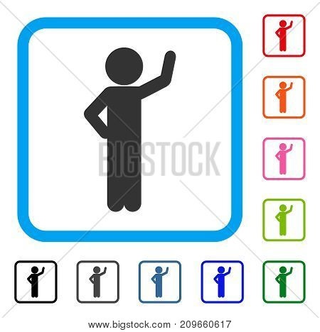 Child Assurance icon. Flat gray pictogram symbol inside a light blue rounded frame. Black, gray, green, blue, red, orange color additional versions of Child Assurance vector.