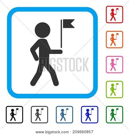 Child Flag Guide icon. Flat gray pictogram symbol inside a light blue rounded rectangular frame. Black, gray, green, blue, red, orange color versions of Child Flag Guide vector.