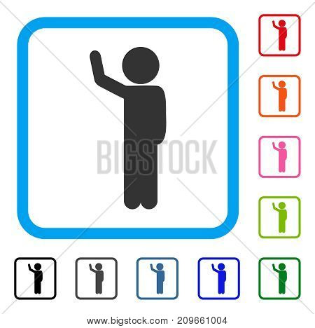 Child Hitchhike icon. Flat gray iconic symbol in a light blue rounded rectangle. Black, gray, green, blue, red, orange color variants of Child Hitchhike vector. Designed for web and software UI.
