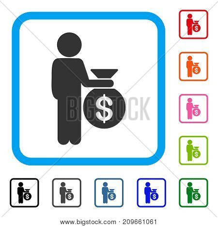 Child Investor icon. Flat gray pictogram symbol inside a light blue rounded rectangular frame. Black, gray, green, blue, red, orange color variants of Child Investor vector.