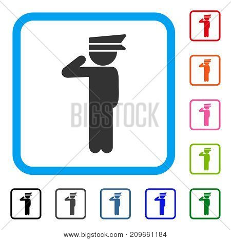 Child Officer icon. Flat grey iconic symbol inside a light blue rounded squared frame. Black, gray, green, blue, red, orange color versions of Child Officer vector. Designed for web and software UI.