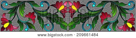 Illustration in stained glass style with abstract pink flowers on a grey background