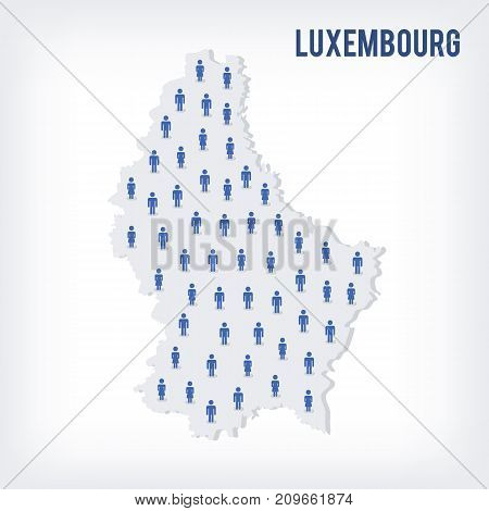 Vector People Map Of Luxembourg . The Concept Of Population.