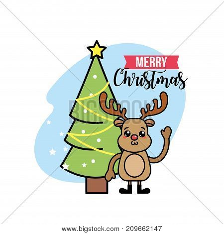 merry chirstmas traditional celebration event vector illustration