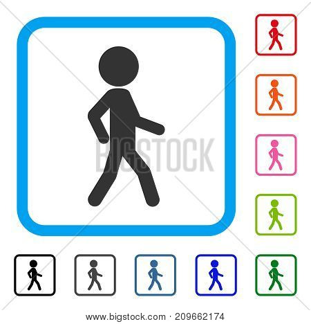 Walking Child icon. Flat gray pictogram symbol in a light blue rounded square. Black, gray, green, blue, red, orange color variants of Walking Child vector.