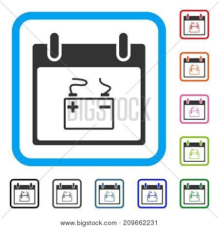 Accumulator Calendar Day icon. Flat grey pictogram symbol inside a light blue rounded squared frame. Black, gray, green, blue, red, orange color additional versions of Accumulator Calendar Day vector.