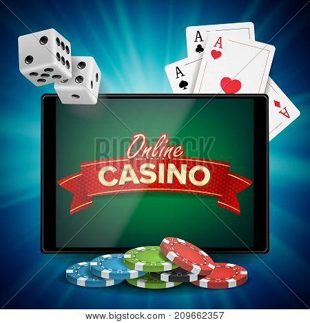 Online Casino Poster Vector. Modern Mobile Tablet Concept. Jackpot Advertising Concept Illustration.