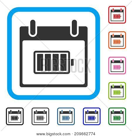Battery Calendar Day icon. Flat gray iconic symbol inside a light blue rounded squared frame. Black, gray, green, blue, red, orange color additional versions of Battery Calendar Day vector.
