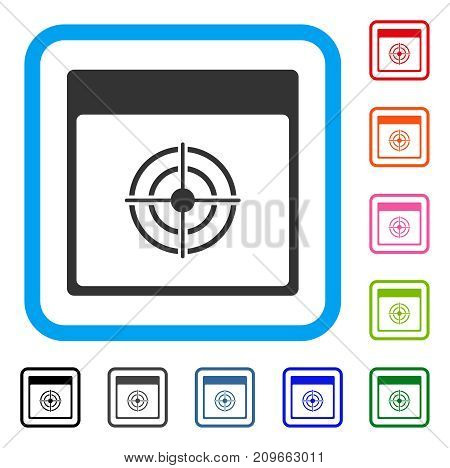 Bullseye Calendar Page icon. Flat gray pictogram symbol in a light blue rounded squared frame. Black, gray, green, blue, red, orange color versions of Bullseye Calendar Page vector.