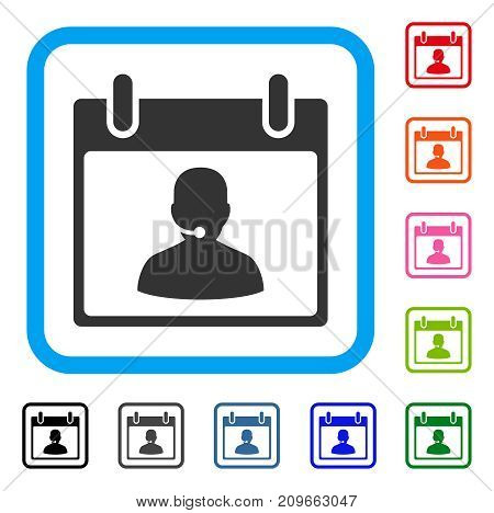 Call Center Manager Calendar Day icon. Flat grey iconic symbol in a light blue rounded rectangular frame. Black, gray, green, blue, red,