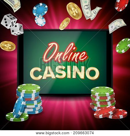 Online Casino Vector. Banner With Tablet. Bright Chips, Dollar Coins. Jackpot Casino Billboard, Signage, Marketing Luxury Poster Illustration.