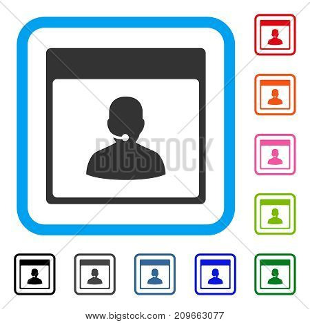 Call Center Manager Calendar Page icon. Flat grey iconic symbol in a light blue rounded square. Black, gray, green, blue, red,