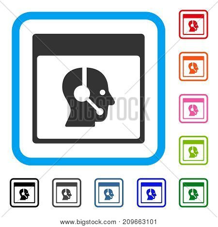 Call Center Operator Calendar Page icon. Flat grey iconic symbol inside a light blue rounded rectangular frame. Black, gray, green, blue, red,
