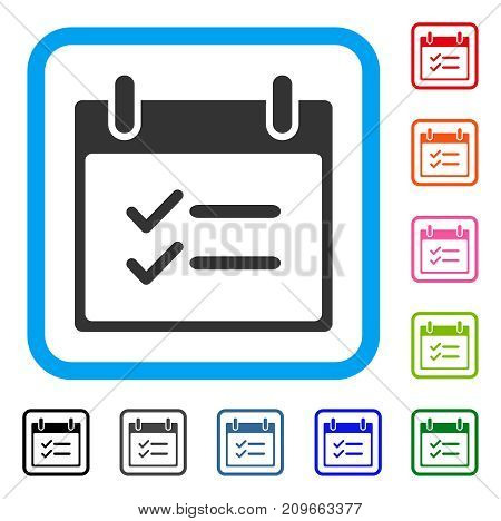 Check Items Calendar Day icon. Flat grey pictogram symbol inside a light blue rounded rectangle. Black, gray, green, blue, red, orange color variants of Check Items Calendar Day vector.