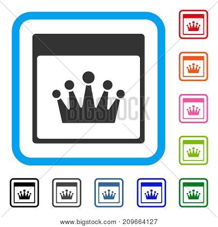 Crown Calendar Page icon. Flat gray pictogram symbol in a light blue rounded rectangle. Black, gray, green, blue, red, orange color additional versions of Crown Calendar Page vector.