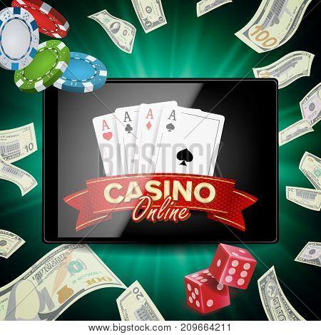 Online Casino Banner Vector. Realistic Tablet. Flying Dollar Coins, Banknotes Explosion. Winner Concept. Jackpot Billboard, Marketing Luxury Illustration.