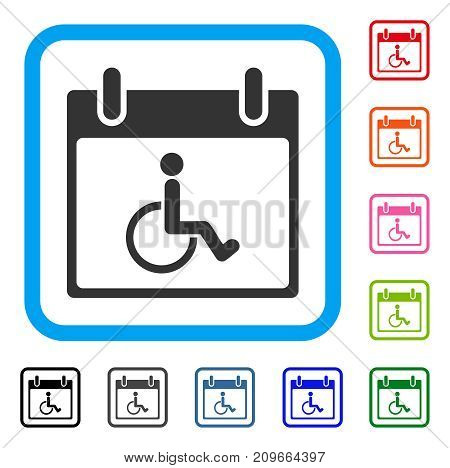 Disabled Person Calendar Day icon. Flat gray iconic symbol in a light blue rounded frame. Black, gray, green, blue, red, orange color additional versions of Disabled Person Calendar Day vector.