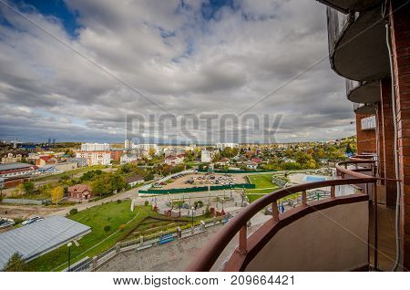 Beautiful view of a small town with houses and sky with white clouds