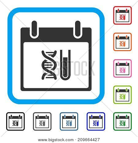 DNA Analysis Calendar Day icon. Flat grey iconic symbol inside a light blue rounded square. Black, gray, green, blue, red, orange color versions of DNA Analysis Calendar Day vector.