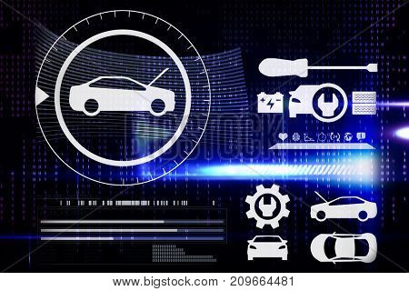 Digital image of cars and tools against blue technology interface with binary code
