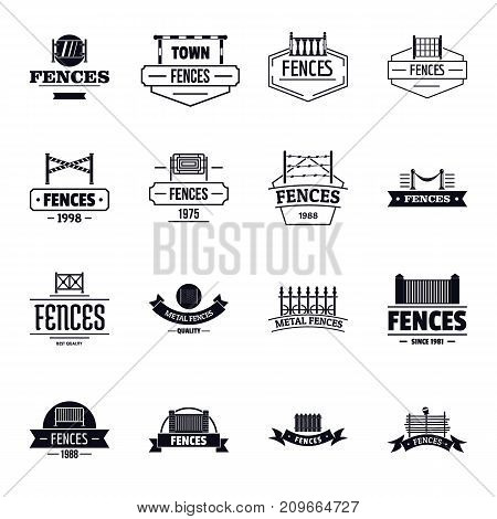 Fencing logo icons set. Simple illustration of 16 fencing logo vector icons for web