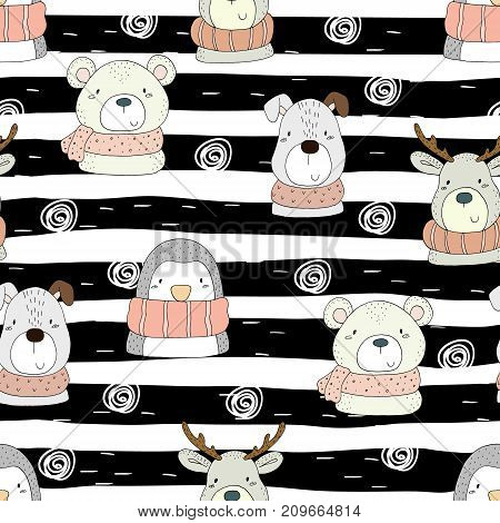 Cute hand drawn doodles funny animals. Seamless pattern.