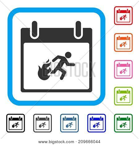 Fire Evacuation Man Calendar Day icon. Flat grey pictogram symbol inside a light blue rounded square. Black, gray, green, blue, red, orange color versions of Fire Evacuation Man Calendar Day vector.