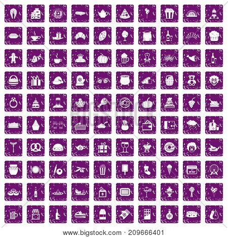 100 bounty icons set in grunge style purple color isolated on white background vector illustration