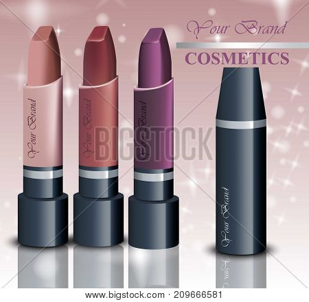 Realistic lipsticks cosmetics on sparkling background. Nude Pastel Colors collection. Cosmetic packaging, ads, mock up
