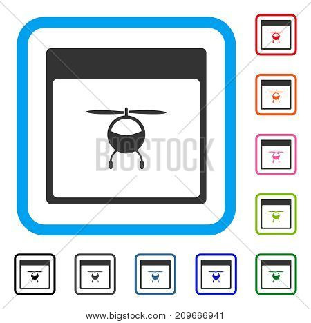 Helicopter Calendar Page icon. Flat grey iconic symbol in a light blue rounded rectangle. Black, gray, green, blue, red, orange color versions of Helicopter Calendar Page vector.