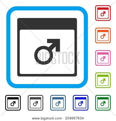 Mars Male Symbol Calendar Page icon. Flat gray pictogram symbol in a light blue rounded squared frame. Black, gray, green, blue, red, orange color versions of Mars Male Symbol Calendar Page vector.