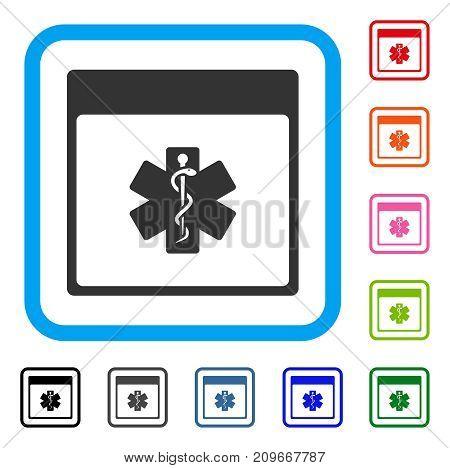 Medical Life Star Calendar Page icon. Flat grey pictogram symbol inside a light blue rounded frame. Black, gray, green, blue, red, orange color variants of Medical Life Star Calendar Page vector.